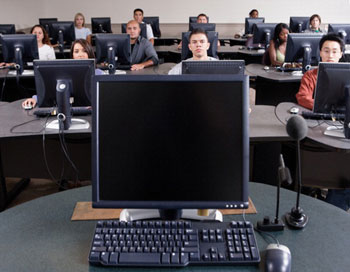 eager student in a computer lab